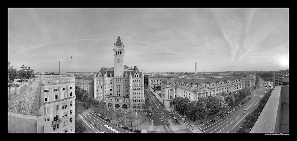 Panoramic photograph of Old Post Office Building at 12th and Pennsylvania Avenue in Washington, DC.  Features Washington Monument.  Print Size (in inches): 15x7; 24x11; 36x17; 48x23; 60x28.5; 72x34