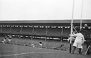 Goalie J.Gereghty fails to block ball during the All Ireland Senior Gaelic Football final Kerry v. Galway in Croke Park on 27th September 1964. Galway 0-15 Kerry 0-10.