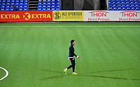 Fotball Menn Eliteserien Ranheim-Strømsgodset<br /> Extra Arena, Ranheim<br /> 16 september 2018<br /> <br /> Strømsgodsets Lars-Christopher Vilsvik kom ikke inn på banen i dag og her virker han noe frustrert og går frem og tilbake på banen helt alene etter kampen<br /> <br /> <br /> Foto : Arve Johnsen, Digitalsport