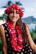 Woman with lei, Waikiki, Oahu, Hawaii