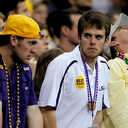 Jan 9, 2012; New Orleans, LA, USA; LSU fans react during the second half of the 2012 BCS National Championship game against the Alabama Crimson Tide at the Mercedes-Benz Superdome.  Mandatory Credit: Derick E. Hingle-US PRESSWIRE