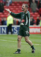 Photo:Paul Thomas. Nottingham Forest v Plymouth Argyle, City Ground, Nottingham. 09/04/2005. Paul Wotten celebrates the win in front of the away fans.