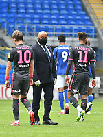 Football - 2019 / 2020 Sky Bet EFL Championship - Cardiff City vs. Leeds United<br /> <br /> A security guard wearing a face mask on the pitch as the players leave the field players as they leave the field , at Cardiff City Stadium.<br /> <br /> COLORSPORT/WINSTON BYNORTH