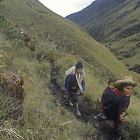 Homesteaders travel to town from cloud forest of upper Amazon.