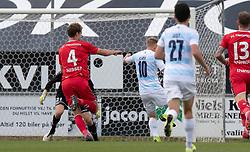 Jeppe Kjær (FC Helsingør) scorer til 0-2 under kampen i 1. Division mellem FC Fredericia og FC Helsingør den 4. oktober 2020 på Monjasa Park i Fredericia (Foto: Claus Birch).