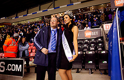 UK ENGLAND WIGAN 9FEB10 - Miss England, Katrina Hodge (22) attends the football match between Premier League clubs Wigan and Stoke City at the VIP section of the Wigan Football stadium. Katrina Hodge is on a week-long tour to promote the beauty pageant and careers at the armed forces in northern England...jre/Photo by Jiri Rezac..© Jiri Rezac 2010