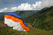 Zillertal, Tyrol, Austria Parachuting off the cliff