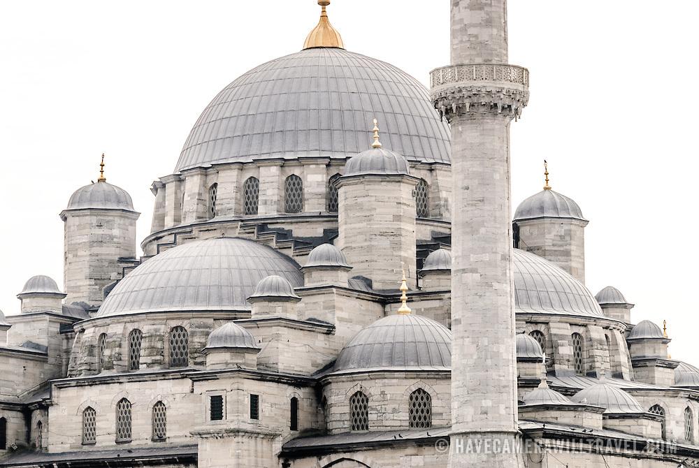 Yeni Camii (New Mosque) is in on the Eminonu side of the Galata Bridge near the Grand Bazaar. Istanbul, Turkey