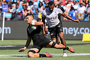 Tone Ng Shiu scores during Day 3 of the HSBC World Rugby Sevens, Mens Semi Final match between New Zealand and Fiji, 2019, Spotless Stadium, Saturday 3rd February 2019. Copyright Photo: David Neilson / www.photosport.nz
