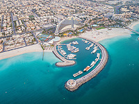 Aerial view of luxurious yacht moored in an harbour in Dubai, U.A.E.