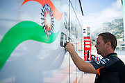 May 20-24, 2015: Monaco Grand Prix - Force India details being added to the team motorhome.