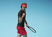 Tennis - 2018 Nitto ATP Finals at The O2 - Day Two<br /> <br /> Mens singles : Alexander Zverev (GER) v Marin Cilic (CRO)<br /> <br /> Alexander Zverev of Germany winning in two straight sets<br /> <br /> COLORSPORT/ANDREW COWIE