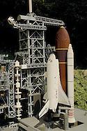 Lego Miniature Model of NASA Space Shuttle at Miniland, LegoLand, tourist amusement attraction in Carlsbad, San Diego County, California