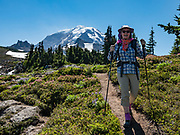 Hiking the Spray Park–Knapsack Pass Loop, shown here at the headwaters of Cataract Creek in Mist Park, in Mount Rainier National Park, Washington, USA. Mount Rainier rises to 14,411 feet elevation.