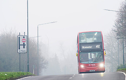 ©Licensed to London News Pictures 01/01/2020<br /> Sidcup ,UK New years day foggy weather in Sidcup, South East London this morning as a lonely bus on a quiet road heads for Bluewater. Photo credit: Grant Falvey/LNP