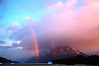 Early Morning Rainbow, Lago Grey, Torres del Paine, Chile. Image taken with a Nikon D3s and 28-120 mm f/4 lens (ISO 200, 31 mm, f/5.6). HDR composite of 4 images using Photomatix Pro