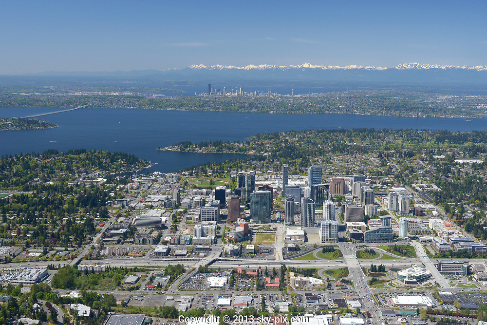 Territorial aerial view of Bellevue looking toward Seattle and the Olympic Mountains.