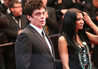 Benicio Del Toro and Michelle Thrush at the red carpet for the gala screening of Jimmy P. Psychotherapy of a Plains Indian film at the Cannes Film Festival 18th May 2013