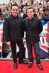 © Licensed to London News Pictures. 11/02/2014. London, UK. Ant and Dec as they attend during Britain's Got Talent 2014 auditions outside the Hammersmith Apollo. Photo credit : Andrea Baldo/LNP