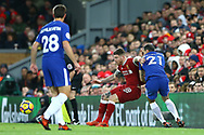 Alberto Moreno of Liverpool (l) and Davide Zappacosta of Chelsea battle for the ball. Premier League match, Liverpool v Chelsea at the Anfield stadium in Liverpool, Merseyside on Saturday 25th November 2017.<br /> pic by Chris Stading, Andrew Orchard sports photography.