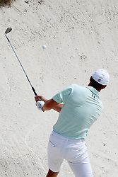 June 11, 2019 - Pebble Beach, CA, U.S. - PEBBLE BEACH, CA - JUNE 11: PGA golfer Jordan Spieth hits out of a sand trap on the 9th hole during a practice round for the 2019 US Open on June 11, 2019, at Pebble Beach Golf Links in Pebble Beach, CA. (Photo by Brian Spurlock/Icon Sportswire) (Credit Image: © Brian Spurlock/Icon SMI via ZUMA Press)