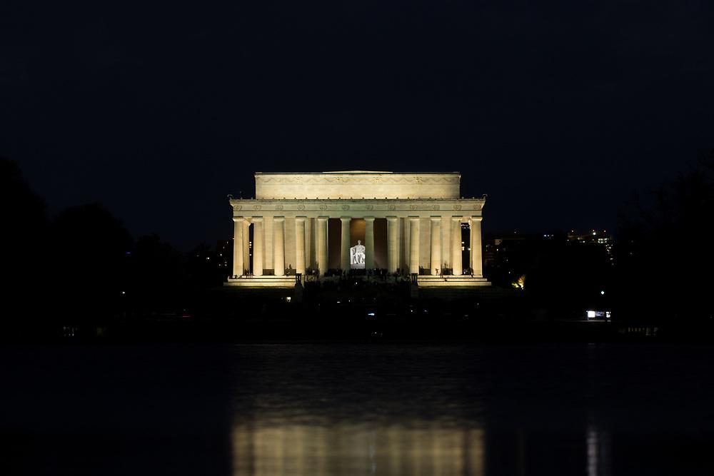 April 3, 2017: Lincoln Memorial at night.