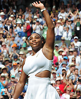 Tennis - 2019 Wimbledon Championships - Week Two, Thursday (Day Ten)<br /> <br /> Women's Singles, Semi-Final: Serena Williams (USA) vs. Barbora Strycova (CZE)<br /> <br /> Serena Williams waves to the crowd after the match on Centre Court.<br /> <br /> COLORSPORT/ANDREW COWIE