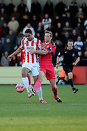 Byron Harrison on the attack during the The FA Cup match between Cheltenham Town and Dover Athletic at Whaddon Road, Cheltenham, England on 7 December 2014.