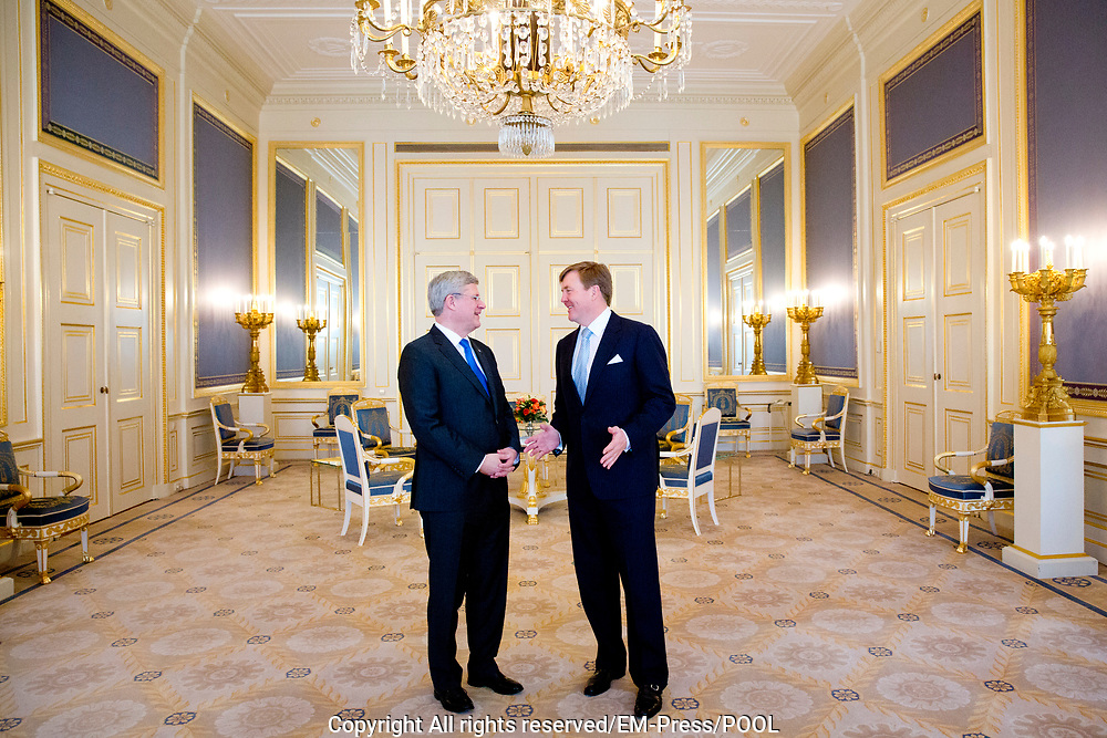 Prime Minister Stephen Harper of Canada visits King Willem-Alexander of The Netherlands at Palace Noordeinde in The Hague, The Netherlands, 24 March 2014. The Canadian prime minister visits the king during the Nuclear Security Summit in The Hague.