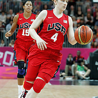 05 August 2012: USA Lindsay Whalen brings the ball upcourt during 114-66 Team USA victory over Team China, during the women's basketball preliminary, at the Basketball Arena, in London, Great Britain.