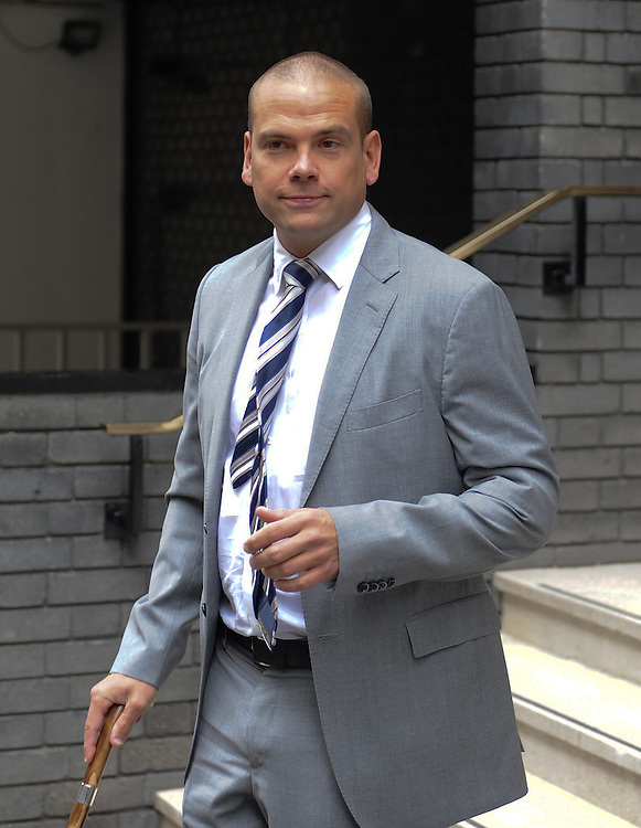 Lachlan Murdoch leaves his fathers  home in Central London on April 24rd 2012..Today James Murdoch son of Rupert gives evidence to The Leveson Inquiry followed by Rupert tomorrow...Photo Ki Price.