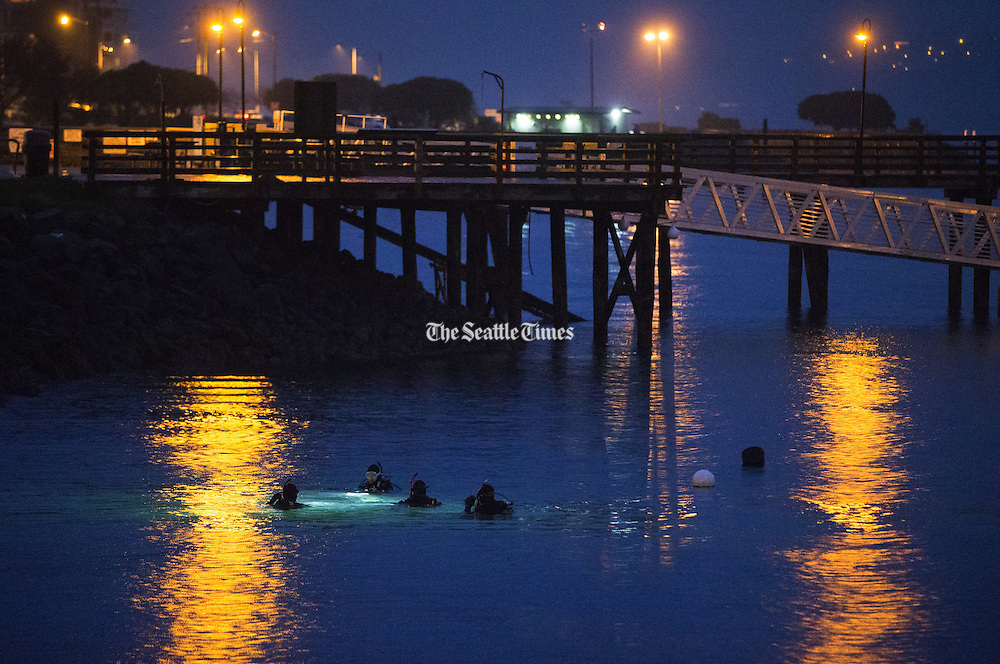 A group of scuba divers practice in the waters of Elliott Bay  as it rains near Seacrest Park. (Lindsey Wasson / The Seattle Times)