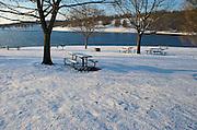 Winter Snow, Berks Co., PA Scene, Blue Marsh Lake, Picnic Tables and Bench