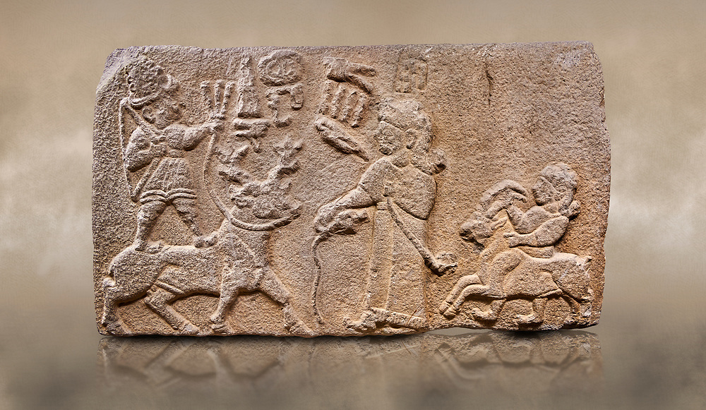 """Aslantepe Hittite relief sculpted orthostat stone panel. Limestone, Aslantepe, Malatya, 1200-700 B.C. Anatolian Civilisations Museum, Ankara, Turkey.<br /> <br /> Scene of king's offering drink and sacrifice to the god. The god is on the deer, with the bow attached to his shoulder and with a triple bundle of lightning in his hand. The king looks at the god, and makes the libation to the god while carrying a scepter with a curled end - lituus. Behind the king is a servant holding a goat for sacrifice to the god. Hieroglyphs read; """"God Parata, Strong King... """". <br /> <br /> Against a brown art background. <br /> <br /> If you prefer to buy from our ALAMY STOCK LIBRARY page at https://www.alamy.com/portfolio/paul-williams-funkystock/hittite-art-antiquities.html . Type - Aslantepe - in LOWER SEARCH WITHIN GALLERY box. Refine search by adding background colour, place, museum etc.<br /> <br /> Visit our HITTITE PHOTO COLLECTIONS for more photos to download or buy as wall art prints https://funkystock.photoshelter.com/gallery-collection/The-Hittites-Art-Artefacts-Antiquities-Historic-Sites-Pictures-Images-of/C0000NUBSMhSc3Oo"""