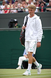 LONDON, ENGLAND - Saturday, July 2, 2011: Liam Broady (GBR) walks onto Court No. 1 for the Boys' Singles Final on day twelve of the Wimbledon Lawn Tennis Championships at the All England Lawn Tennis and Croquet Club. (Pic by David Rawcliffe/Propaganda)