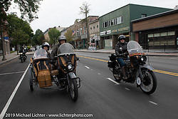 Doc Hopkins with Lyn Jevicky in the sidecar of his 1916 Harley Davidson J model and his daughter Kersten on her '22 Harley-Davidson J model beside him on the Motorcycle Cannonball coast to coast vintage run. Stage-2 (251-miles) from Keene, NH to Binghampton, NY. Sunday September 9, 2018. Photography ©2018 Michael Lichter.