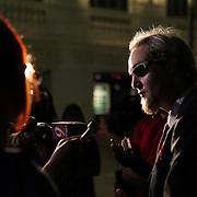 The Reverend Faux speaks to media members during an Occupy Orlando public demonstration in support of Occupy Wall Street gatherings across the country, at the Orange County History Center on Wednesday, October 5, 2011 in Orlando, Florida. (AP Photo/Alex Menendez)
