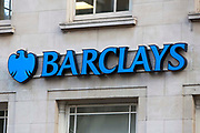 A sign for Barclays Bank, London. UK.