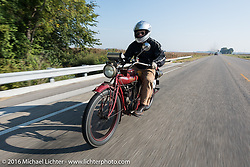 Doug Jones riding his 1914 Indian Model 260 Standard during the Motorcycle Cannonball Race of the Century. Day-4 ride from Bloomington, IN to Cape Girardeau, MO. USA. Wednesday September 14, 2016. Photography ©2016 Michael Lichter.