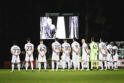 A minute of silence before  football match between NS Mura and Olimpija in 8th Round of Prva liga Telemach 2021/22, on 11 of September, 2021 in Fazanerija, Murska Sobota, Slovenia. Photo by Blaž Weindorfer / Sportida