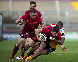 September 9, 2017 - Limerick, Ireland - Alex Wootton of Munster tackled by Makazole Mapimpi of Cheetahs during the Guinness PRO14 rugby match between Munster Rugby and Cheetahs Rugby at Thomond Park in Limerick, Ireland on September 9, 2017  (Credit Image: © Andrew Surma/NurPhoto via ZUMA Press)