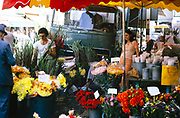 Flower stall on street on Troyes, France 1976