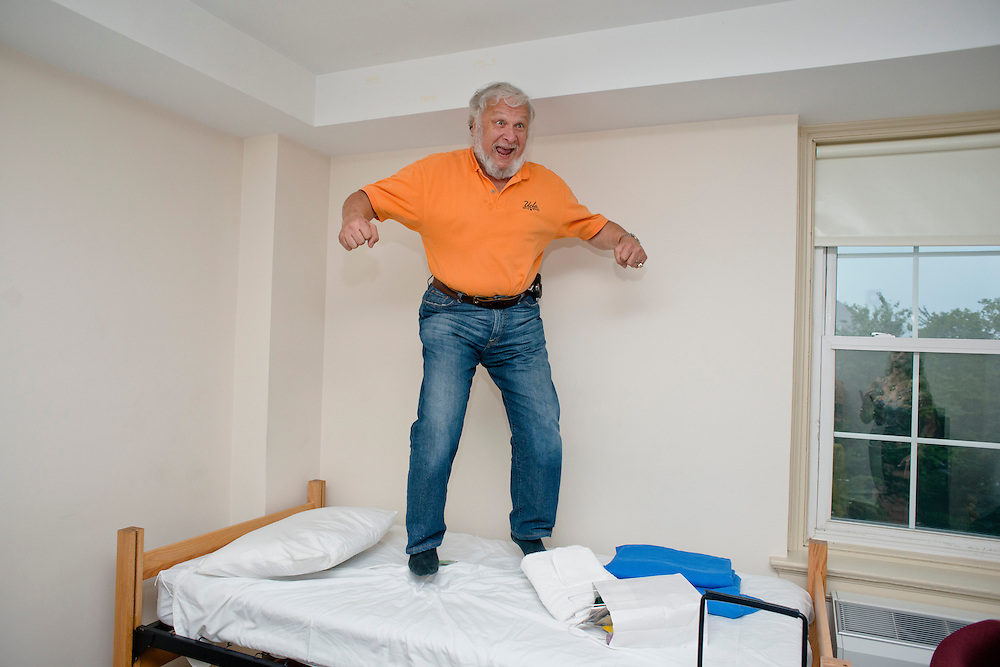 (photo by Matt Roth).Friday, July 20, 2012..For dramatic effect, Robert Simon, jumps on his dorm room bed in the Blanche Ward residence hall during McDaniel College's Parent Preview Friday, July 20, 2012.