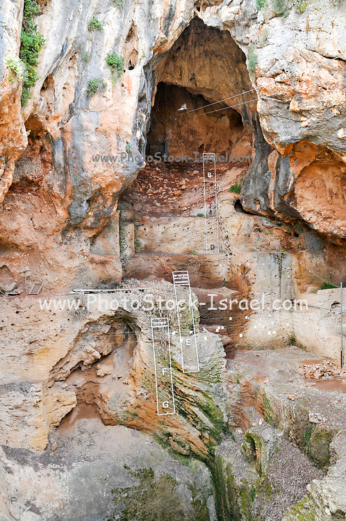 Israel, Carmel Mountain, Nahal Mearot (Cave River) nature reserve containing caves used by prehistoric men for 150 thousand years in three distinct cultures Acheulian culture, Muarian culture and mousterian culture. starting with Homo erectus and ending with Neanderthal. Interior of a cave