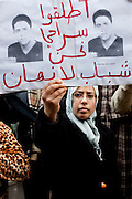 Tunis, Tunisia. January 26th 2011.In front the Ministry of justice and human rights, protesters demand to release political prisoners.....