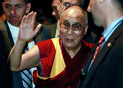 17 May 2013. New Orleans, Louisiana,  USA..His Holiness the 14th Dalai Lama speaks with members of the crowd as he prepares to leave the Morial Convention Center . The Dalai Lama is in New Orleans for the 'Resiliance - Strength through Compassion and Connection' conference. .Photo; Charlie Varley.