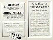 "All Ireland Senior Hurling Championship Final,.Brochures,.01.09.1946, 09.01.1946, 1st September 1946, .Cork 7-5, Kilkenny 3-8, .Minor Dublin v Tipperary.Senior Cork v Kilkenny.Croke Park, ..Advertisements, Medals John Miller, Elvery's are Good, ..Articles, To the Memory of ""Slieve-Na-Mon"" Sweet Singer of the Gael,"