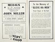 """All Ireland Senior Hurling Championship Final,.Brochures,.01.09.1946, 09.01.1946, 1st September 1946, .Cork 7-5, Kilkenny 3-8, .Minor Dublin v Tipperary.Senior Cork v Kilkenny.Croke Park, ..Advertisements, Medals John Miller, Elvery's are Good, ..Articles, To the Memory of """"Slieve-Na-Mon"""" Sweet Singer of the Gael,"""