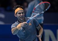 Tennis - 2019 Nitto ATP Finals at The O2 - Day Seven<br /> <br /> Semi Finals: Dominic Thiem (Austria) Vs. Alexander Zverev (Germany)<br /> <br /> Dominic Thiem (Austria) <br /> <br /> COLORSPORT/DANIEL BEARHAM<br /> <br /> COLORSPORT/DANIEL BEARHAM