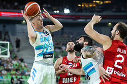 Luka Rupnik of Slovenia during friendly basketball match between National teams of Slovenia and Croatia, on June 18, 2021 in Arena Stozice, Ljubljana, Slovenia. Photo by Vid Ponikvar / Sportida